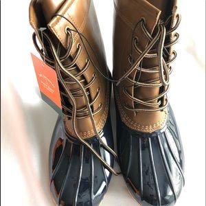 NWT Sporto Duck Boots Tan/Navy New Women's